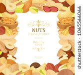 banner with delicious nuts on... | Shutterstock .eps vector #1065566066