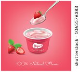 yogurt strawberry cup...   Shutterstock .eps vector #1065576383
