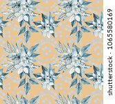 floral seamless pattern with... | Shutterstock . vector #1065580169