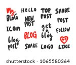 stickers set for video youtube. ...   Shutterstock .eps vector #1065580364