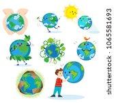 earth day  happy boy hugging... | Shutterstock .eps vector #1065581693