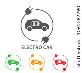 icons of electric cars  vector. ... | Shutterstock .eps vector #1065582290