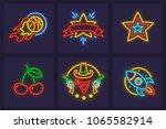 set of neon icons. burning...   Shutterstock .eps vector #1065582914