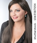 beautiful lady with small... | Shutterstock . vector #1065587054