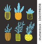 isolated flowers in pots. flat...   Shutterstock .eps vector #1065598058