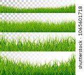 green grass borders set vector... | Shutterstock .eps vector #1065601718