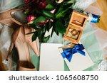 wedding invitation with blue... | Shutterstock . vector #1065608750