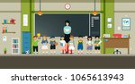 teachers and students stand in... | Shutterstock .eps vector #1065613943