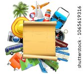 vector travel concept with old... | Shutterstock .eps vector #1065619316