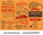 mexican restaurant menu. vector ... | Shutterstock .eps vector #1065620909