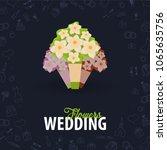 wedding flowers. flat wedding... | Shutterstock .eps vector #1065635756