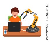 student kid programming a... | Shutterstock .eps vector #1065638183