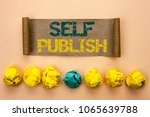 Small photo of Writing note showing Self Publish. Business photo showcasing Publication Write Journalism Manuscript Article Facts written on Cardboard Paper on the plain background Crumpled Paper Balls