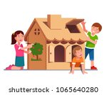 kids painting cardboard box toy ... | Shutterstock .eps vector #1065640280