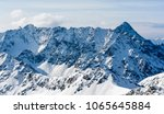 Small photo of Mountain panorama in the Tatra mountains in Slovakia. A view of a magnificent ridge (Ridge Hrubego, Hrube, Hrubo) in the snow on a sunny day.
