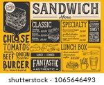 sandwich restaurant menu.... | Shutterstock .eps vector #1065646493