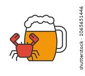 beer mug with crab color icon.... | Shutterstock .eps vector #1065651446