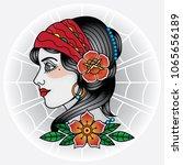 vector tattoo face girl old... | Shutterstock .eps vector #1065656189