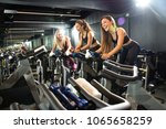 cheerful sporty girls riding... | Shutterstock . vector #1065658259