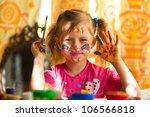 little fanny girl drawing paint ... | Shutterstock . vector #106566818