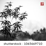 bamboo trees and forest in fog... | Shutterstock .eps vector #1065669710