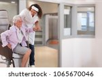 nurse helping disabled lady in...   Shutterstock . vector #1065670046