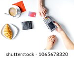 coffee  croissant and card... | Shutterstock . vector #1065678320