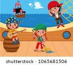 three pirates having fun on the ... | Shutterstock .eps vector #1065681506