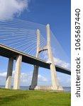vasco da gama bridge in lisbon  ... | Shutterstock . vector #1065687440