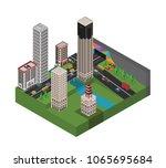 isometric 3d city | Shutterstock .eps vector #1065695684