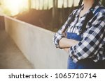 woman or farmer with and cows... | Shutterstock . vector #1065710714