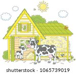 spotted cow and her small calf... | Shutterstock .eps vector #1065739019