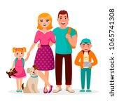 caucasian family cartoon... | Shutterstock .eps vector #1065741308