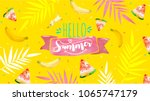 hello summer poster  banner in... | Shutterstock .eps vector #1065747179