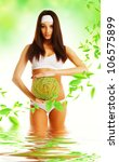 healthy eco woman in water with ...   Shutterstock . vector #106575899