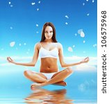 brunette model in yoga pose and ... | Shutterstock . vector #106575968