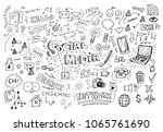 social media hand drawn doodles | Shutterstock .eps vector #1065761690