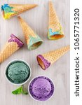 blueberry and pistachio ice... | Shutterstock . vector #1065771320