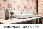 bathroom interior with sink and ... | Shutterstock . vector #1065773744