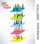 a large group of pixel people... | Shutterstock .eps vector #106577474