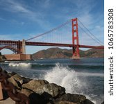 golden gate bridge waves san... | Shutterstock . vector #1065783308