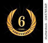 6 years anniversary. elegant... | Shutterstock .eps vector #1065785369
