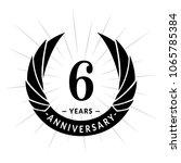 6 years anniversary. elegant... | Shutterstock .eps vector #1065785384