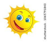 yellow smiling sun cartoon... | Shutterstock .eps vector #1065791843