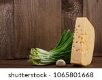 one big whole piece of cheese... | Shutterstock . vector #1065801668