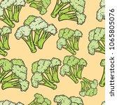 seamless hand drawn broccoli... | Shutterstock .eps vector #1065805076