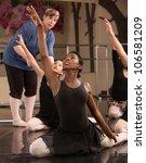 Ballet Class Teacher Helps...