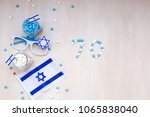 blue and white items with... | Shutterstock . vector #1065838040