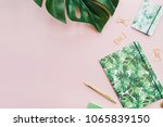 exotic tropical monstera palm... | Shutterstock . vector #1065839150