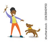 Stock vector young african woman training dog with stick young woman playing with her small dog on a walk 1065840950